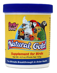 photo of Pretty Bird Natural Gold Supplement for Birds container