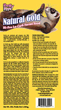 Pretty Pets Natural Gold Ferret Food label image