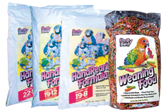 photo of bags of Pretty Bird Baby Bird Foods, HandRearing Formulas and Weaning Food