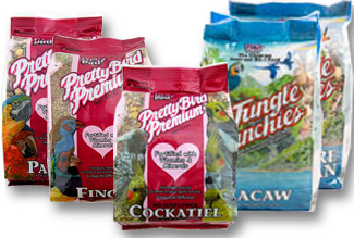 photo of bags of Pretty Bird Premium Seed Foods and Jungle Munchies Foods