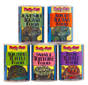 Photo of containers of Pretty Pets Reptile Foods