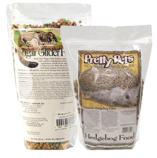 photo of bags of Pretty Pets Sugar Glider Food and Hedgehog Food